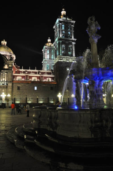 The Cathedral of Puebla at night